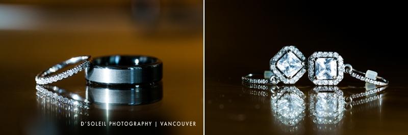 Wedding ring and earring detail shot