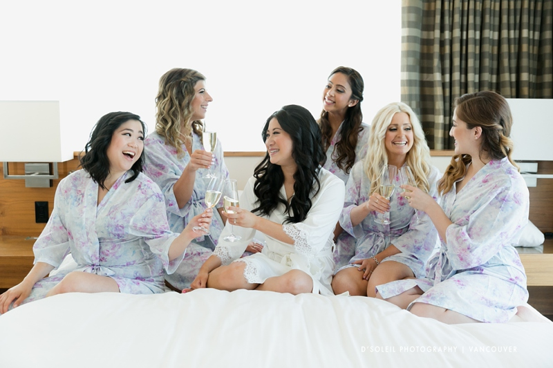Bridemaids toasting bride Vancouver wedding
