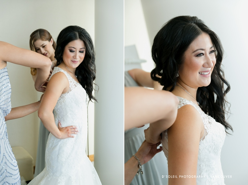 Bride getting ready Vancouver wedding