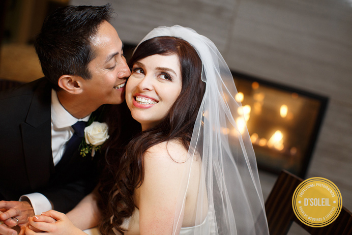 L'Hermitage Hotel Vancouver Wedding photo by fireplace