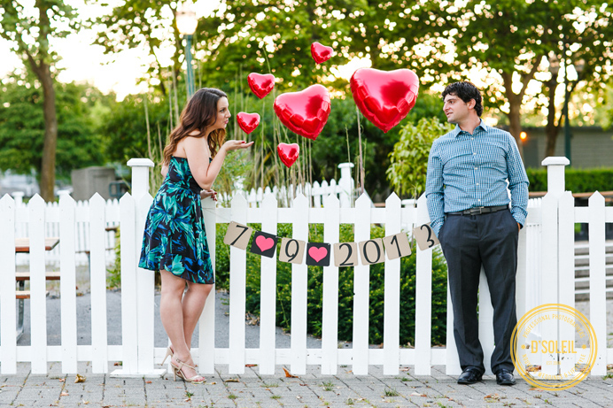save the date balloon engagement photo
