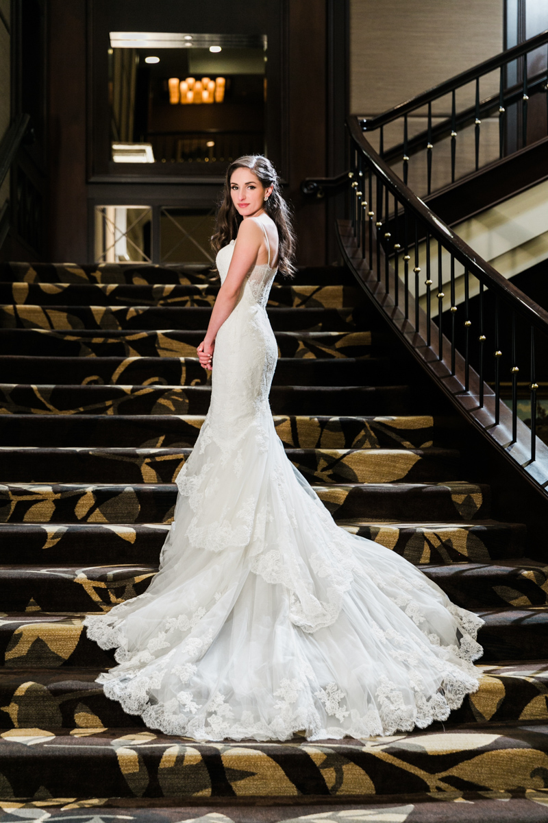 Bride at Terminal City Club staircase during wedding